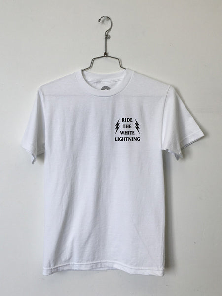 ride_the_white_lightning_tee_white_front