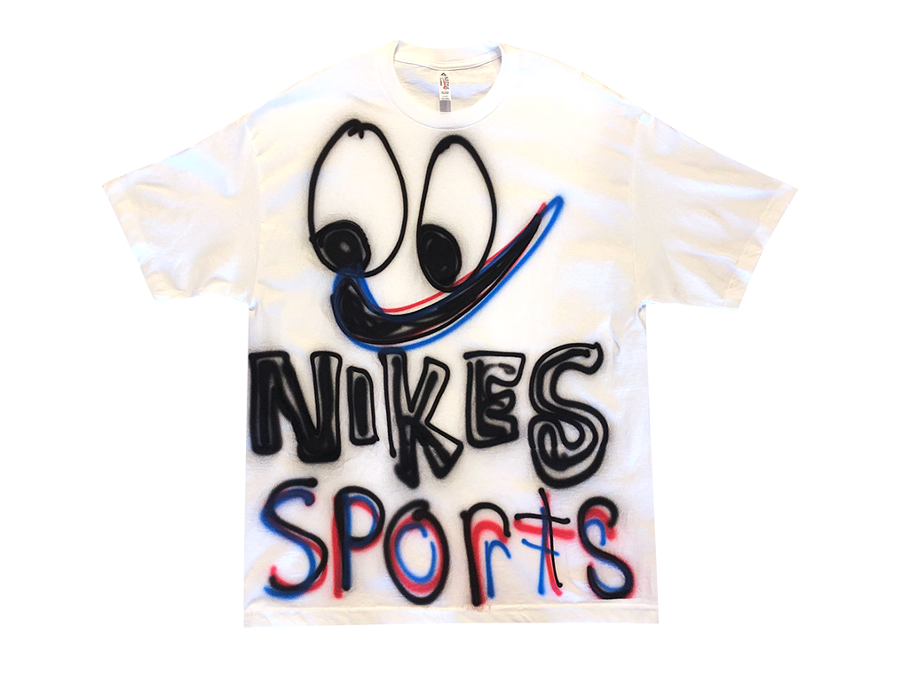 "Photo of an airbrushed t-shirt with a smiley face and the words ""Nikes Sports"" by artist Devin Troy Strother."