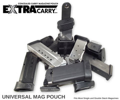 You spare Glock Mag will work in this Universal Mag Pouch from ExtraCarry