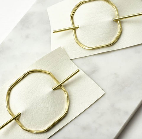 square brass hair slide