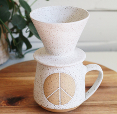 speckled peace mug + coffee pour-over set