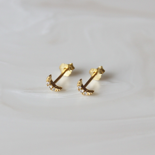 pave moon studs