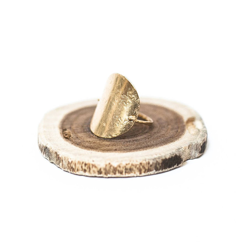 Large Gold Full Moon Ring