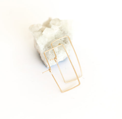 shaped gold hoops - rectangle