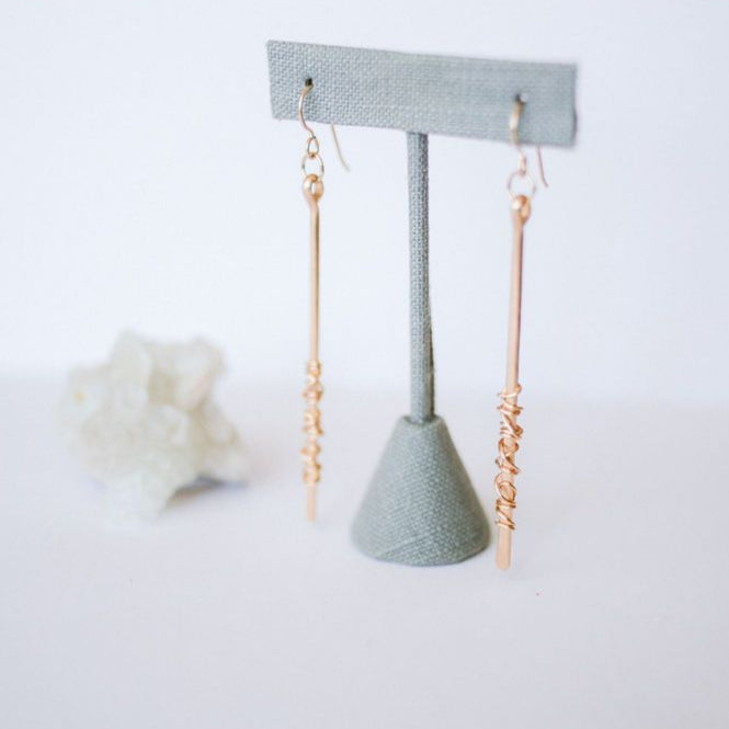wire wrapped pathway earrings
