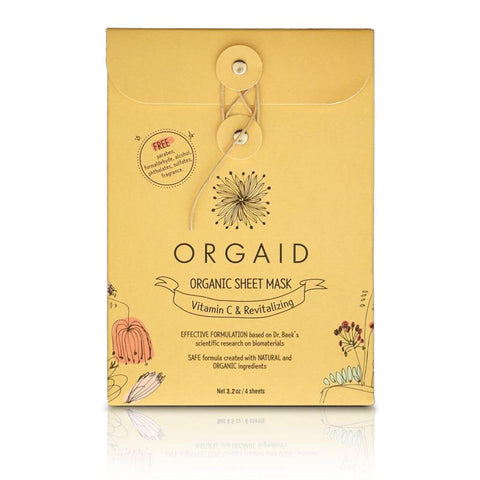 orgaid vitamin c & revitalizing organic face mask / 4 pack