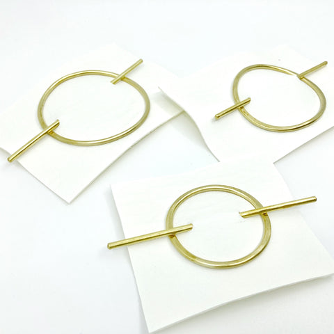 oval brass hair slide
