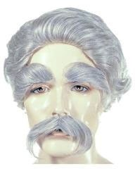 Lacey Costume Mark Twain Wig Mustache Eyebrow Set Albert Einstein - MaxWigs