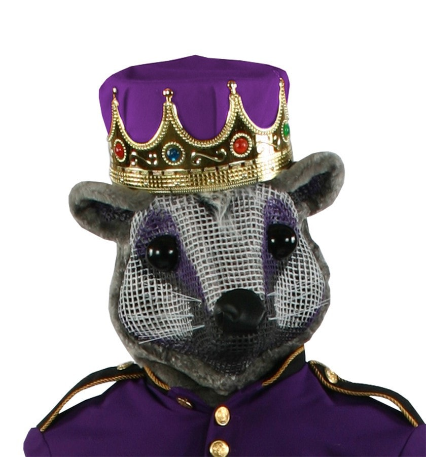 Morris Mouse King Head W Purple Crown - MaxWigs