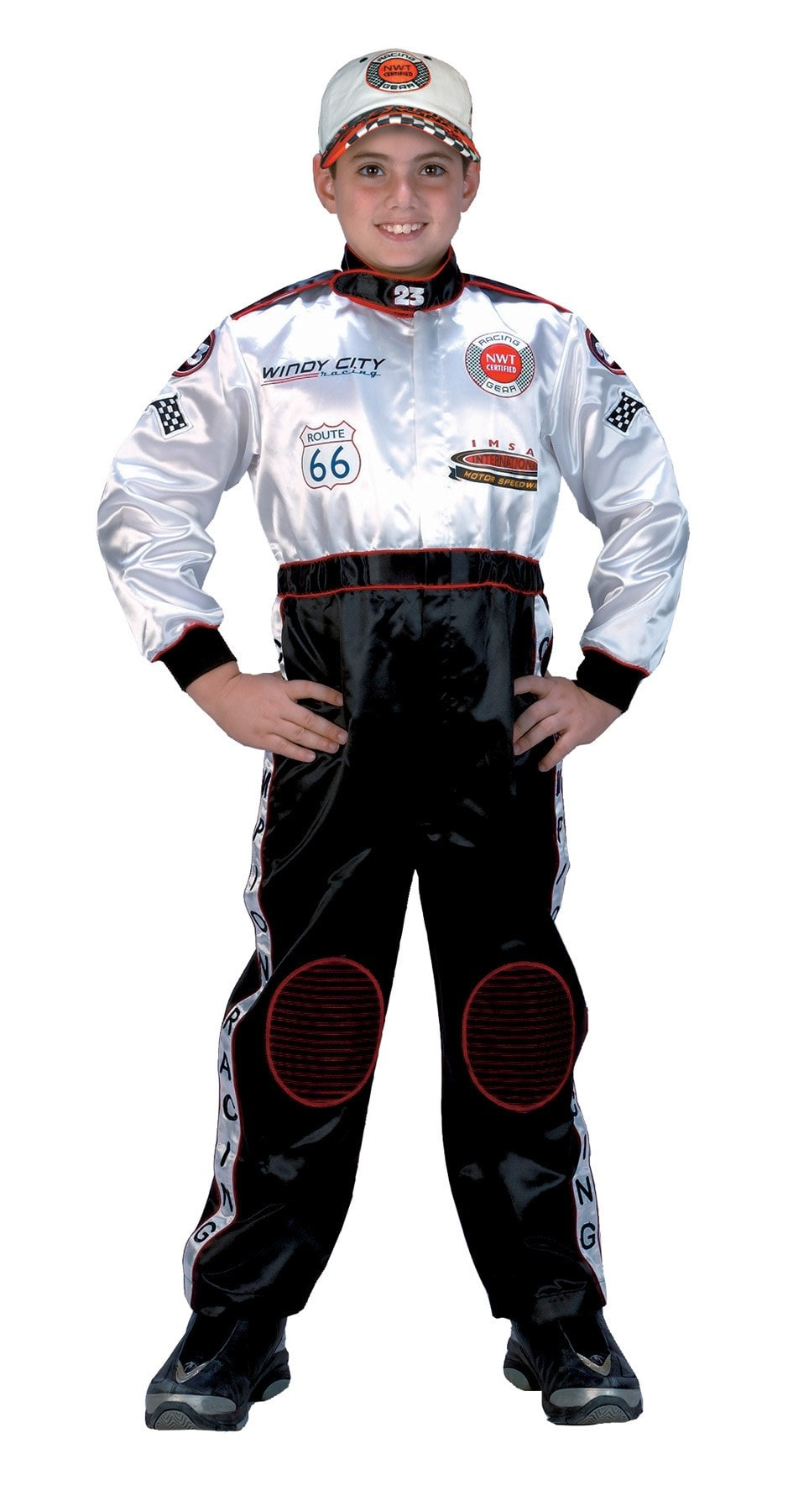 Morris Racing Suit Blk Wht Small 4-6 - MaxWigs