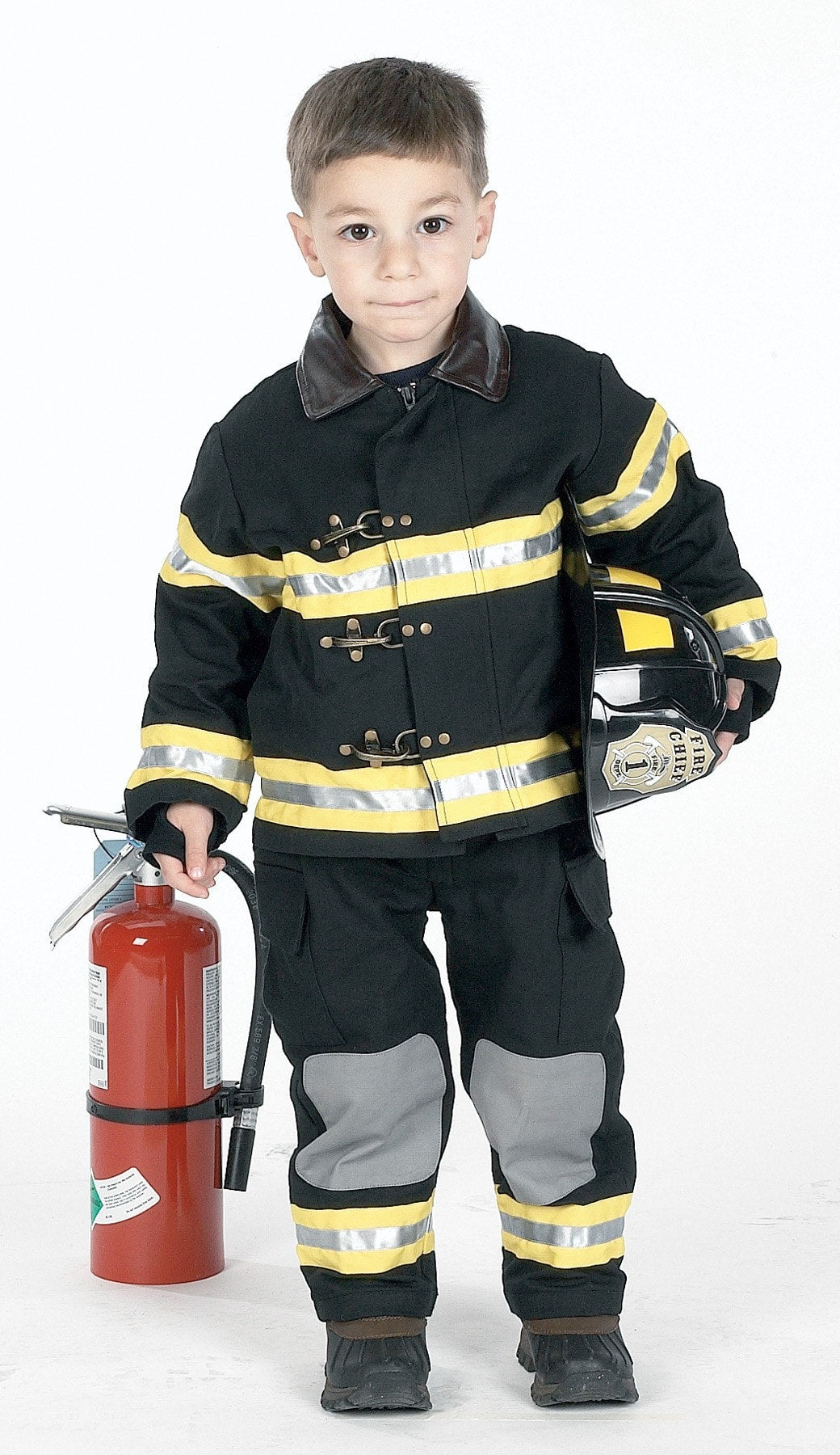 Morris Fire Fighter Chld Blk Sm W Hat - MaxWigs