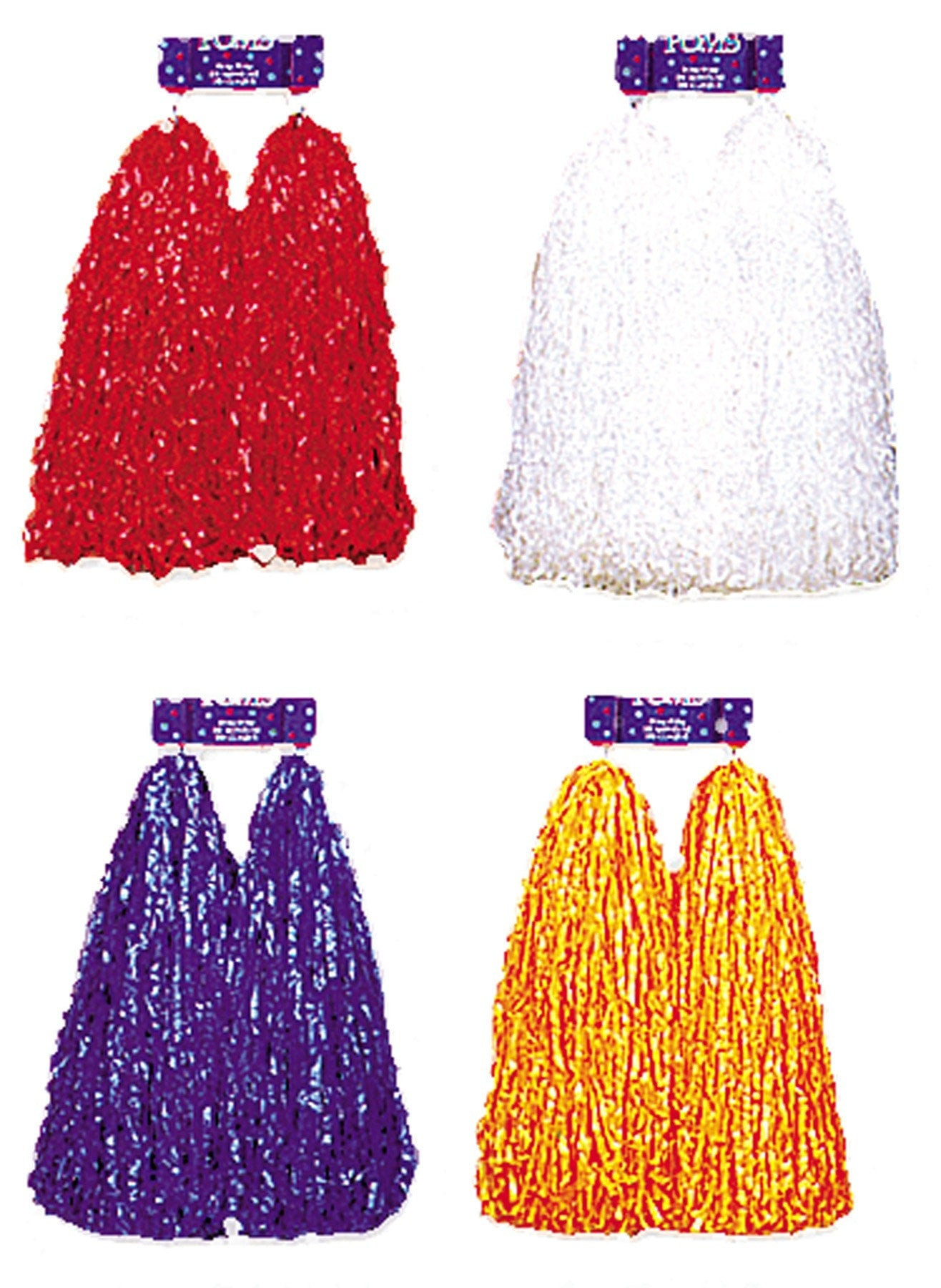 Morris Pom Poms Plastic White Cheer - MaxWigs