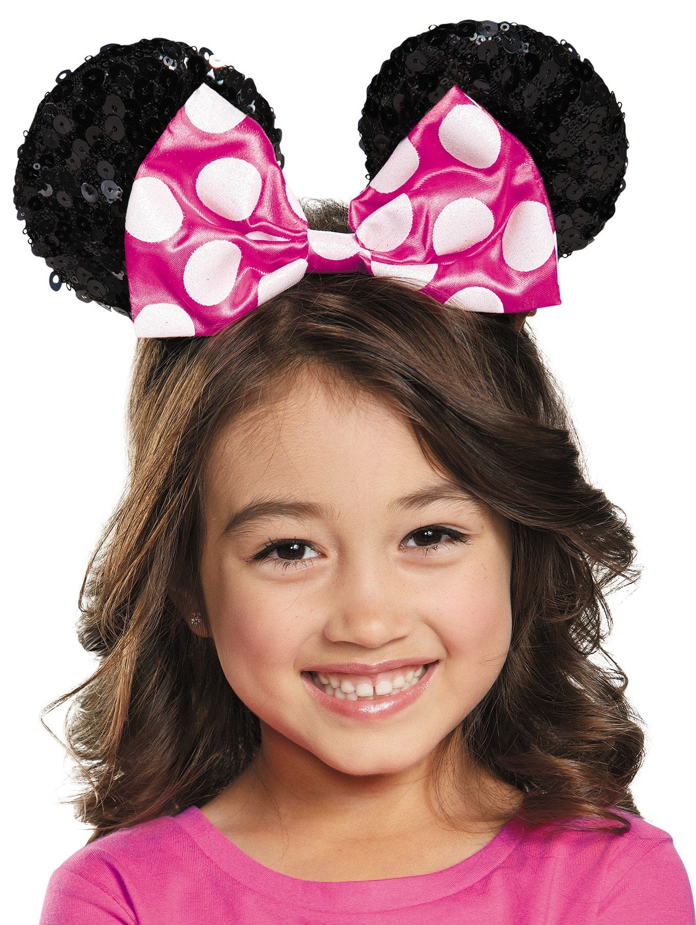 Morris Pink Minnie Child Sequin Ears - MaxWigs