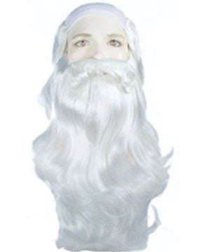 Lacey Costume Father Time Merlin Sorcerer Wig and Beard Set CLEARANCE - MaxWigs