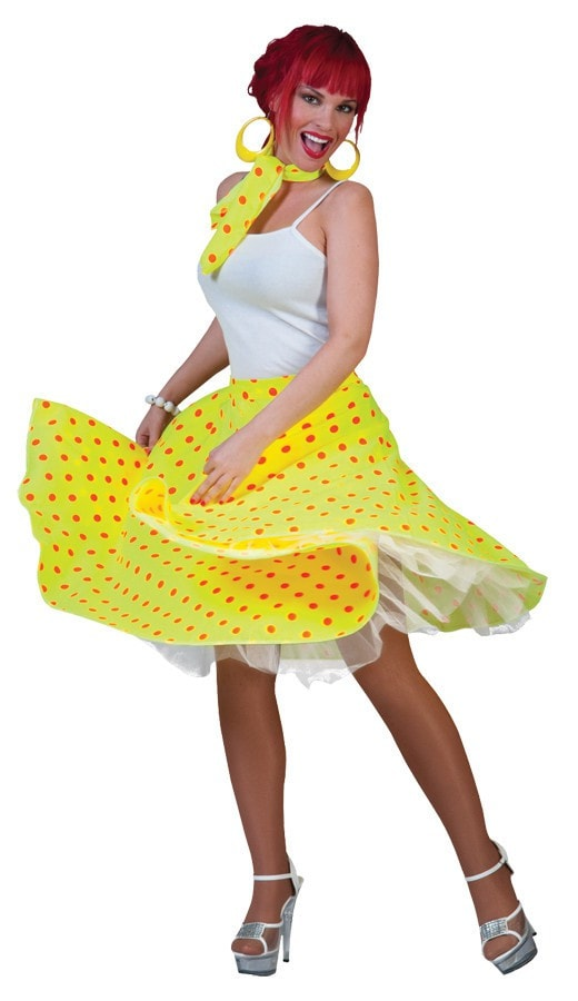 Morris Sock Hop Skirt Adult Yellow Or - MaxWigs