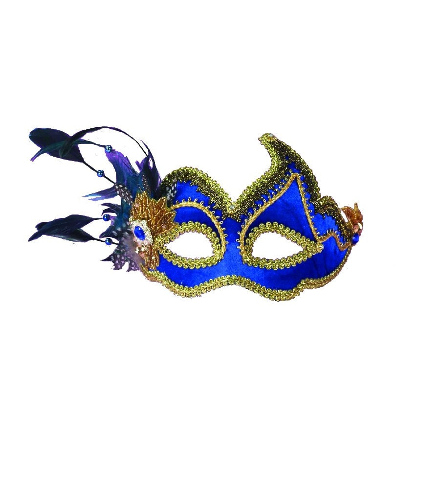 Morris Ven Mask Blue W Feathers - MaxWigs
