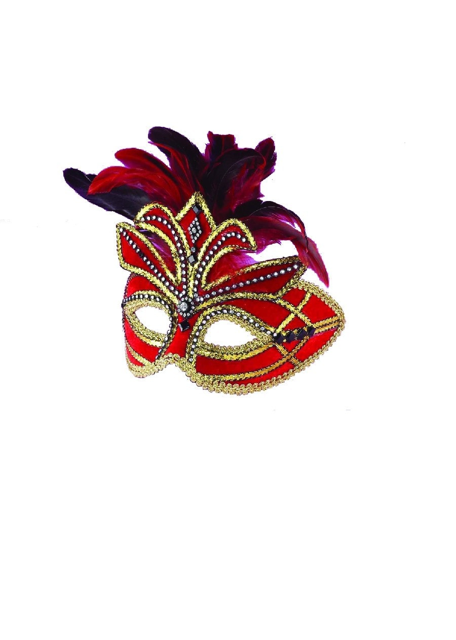 Morris Ven Mask Red W Feathers - MaxWigs