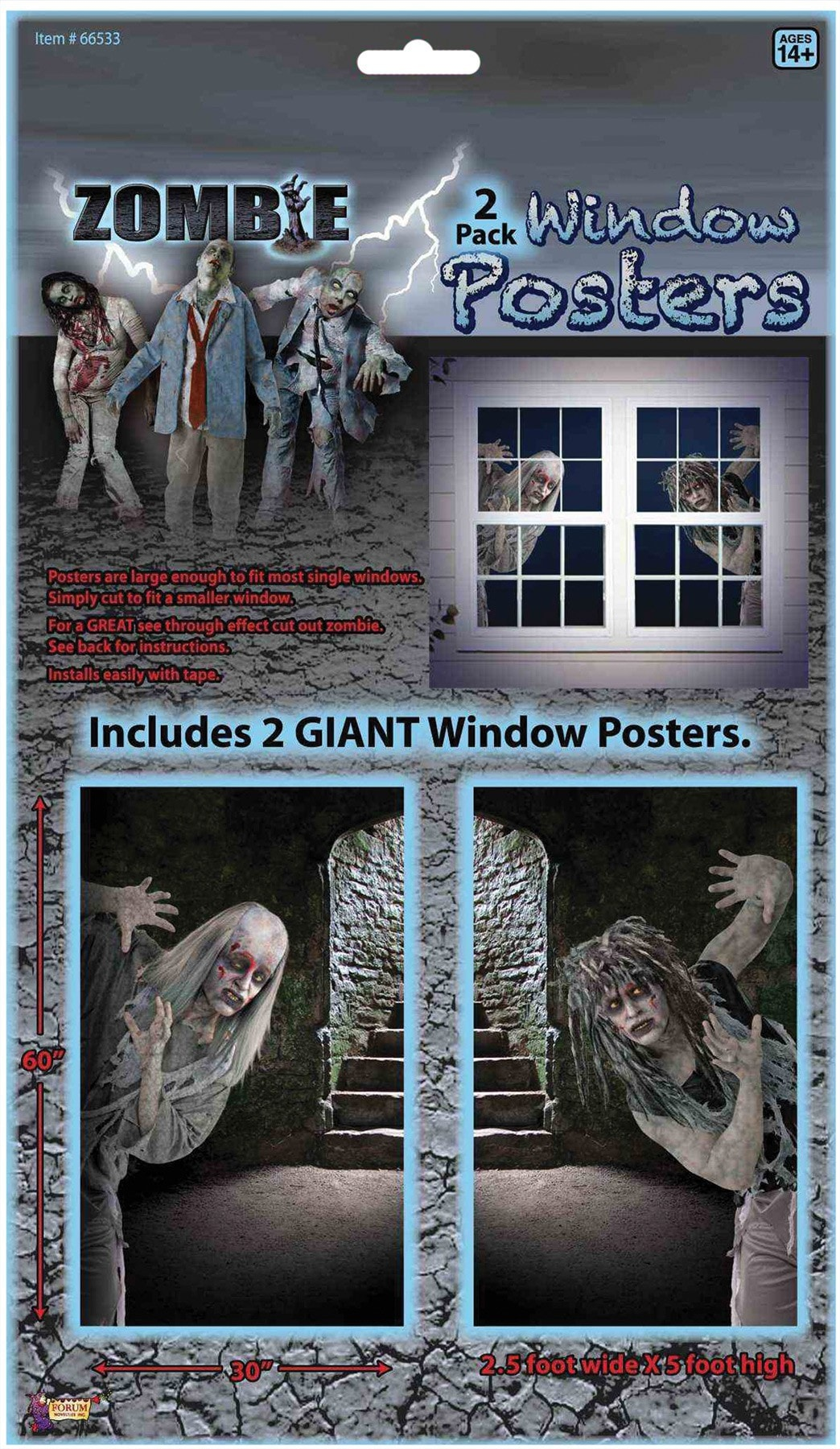 Morris Zombie Window Clings - MaxWigs