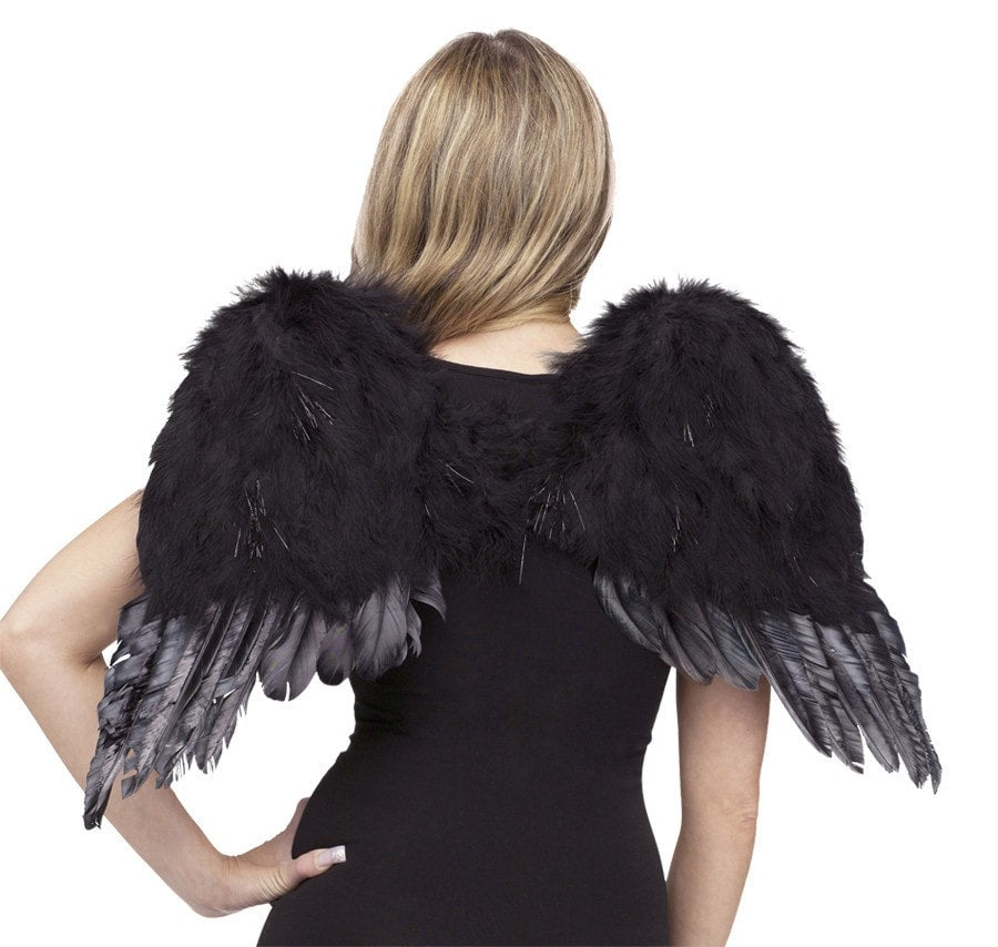 Morris Angel Wings Feathr Chld Blk - MaxWigs