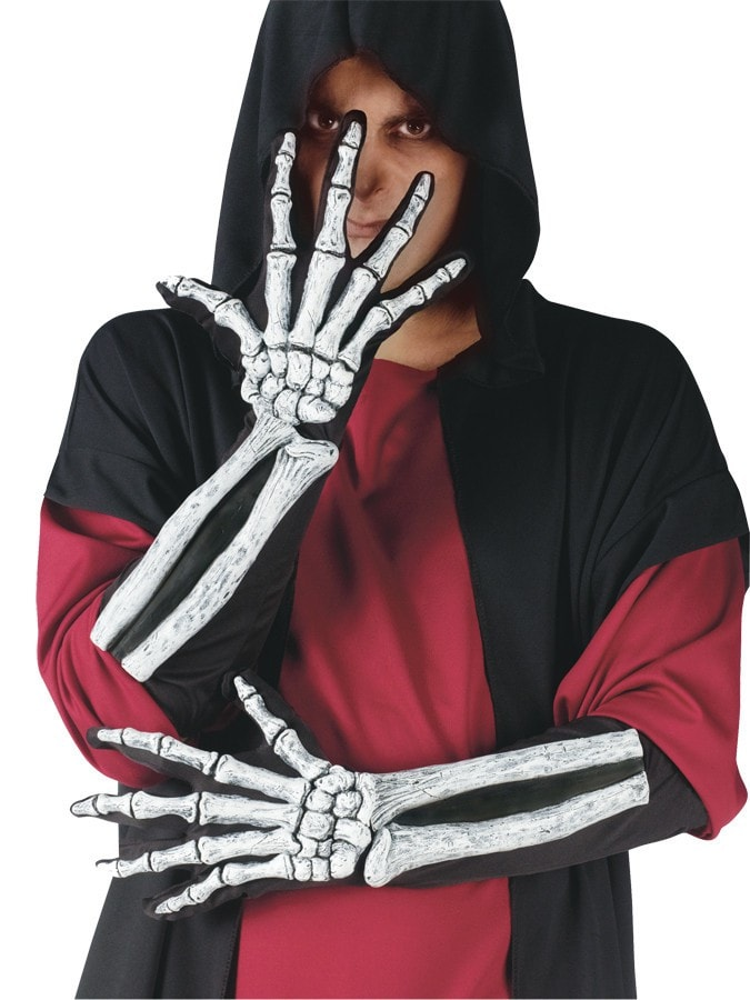 Morris Skeleton Glove And Wrist Bone - MaxWigs