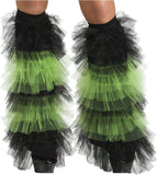 Morris Boot Covers Tulle Ruffle Bk Gr - MaxWigs