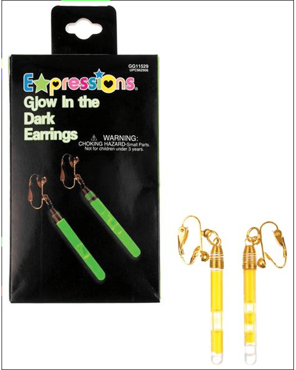 Morris Earrings Glow In Dark Green - MaxWigs