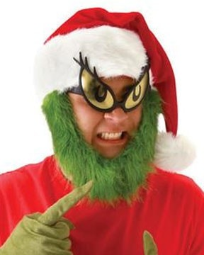 Morris Grinch Hat With Beard - MaxWigs