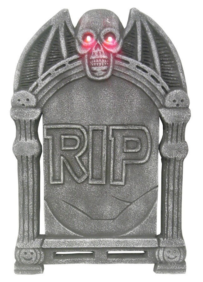 Morris Tombstone Light Up Skull 24in - MaxWigs