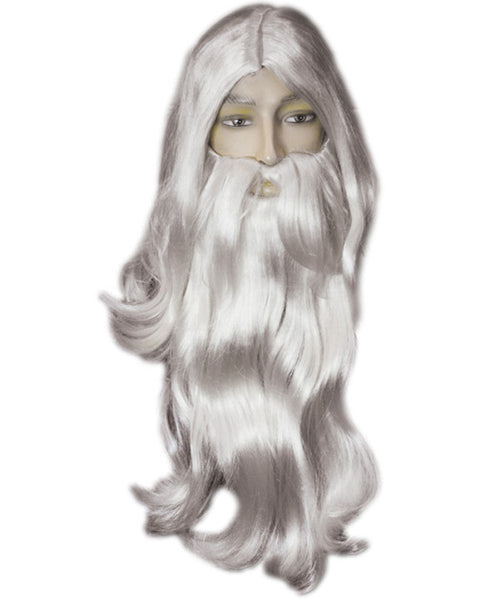 Father Time Merlin Sorcerer Wig and Beard Set