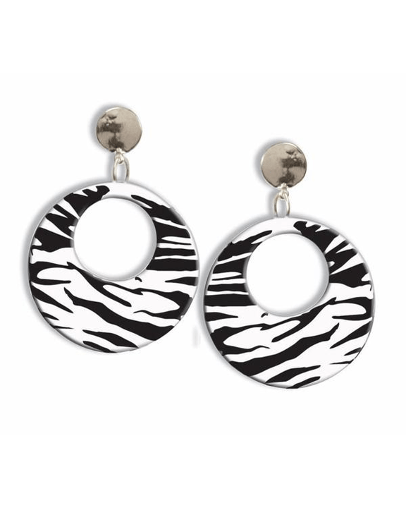 Morris Earrings Zebra White - MaxWigs