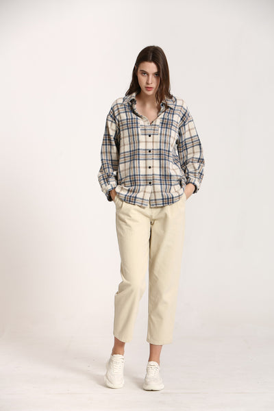 KORNER - Plaid Button Up Top in Blue & Cream