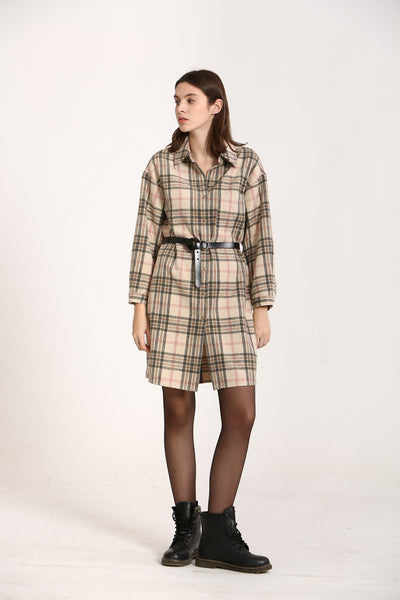 KORNER - Plaid Dress in Off White & Blue