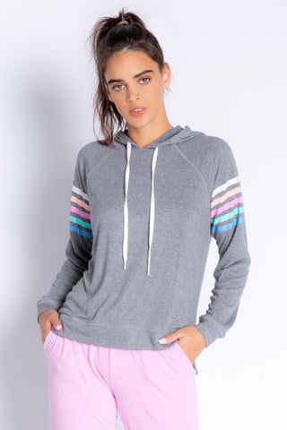 PJ Salvage - Colourful Classics Stripe Hoody in Heather Charcoal
