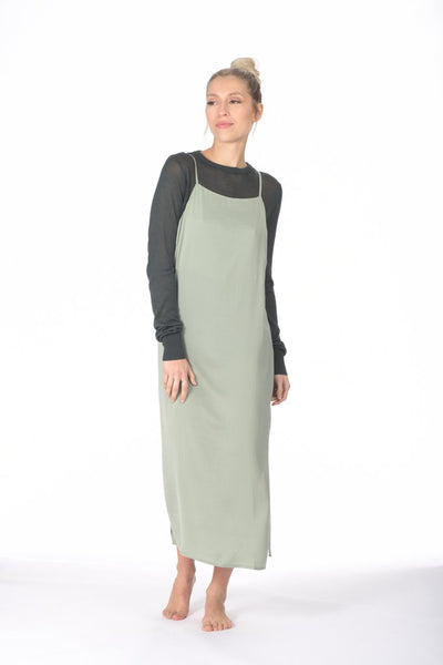 Paper Label - Clover Satin Shift Dress in Sage