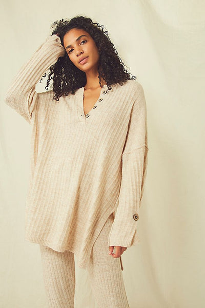 Free People - Around The Clock Pullover in Oatmeal