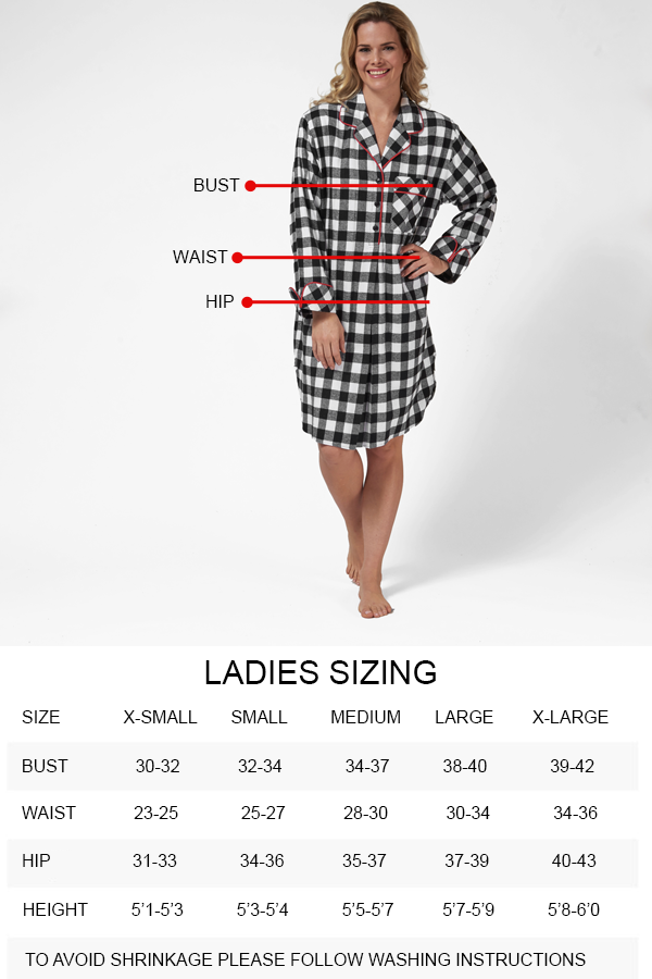 Flannel Size Chart