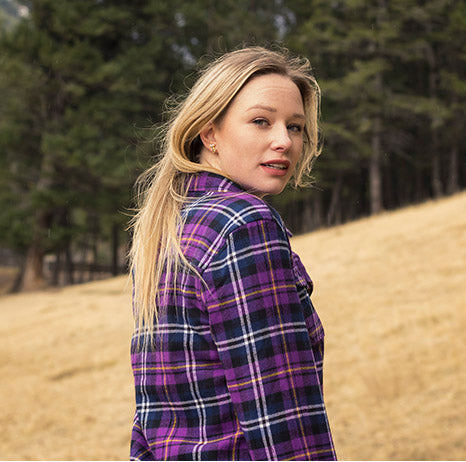 Buy-Womens-Flannel-Shirts-Canada-Purple-Buffalo-Check