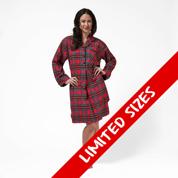 1001/ Woman's Knee Length Flannel Nightshirt / Royal Stewart Tartan