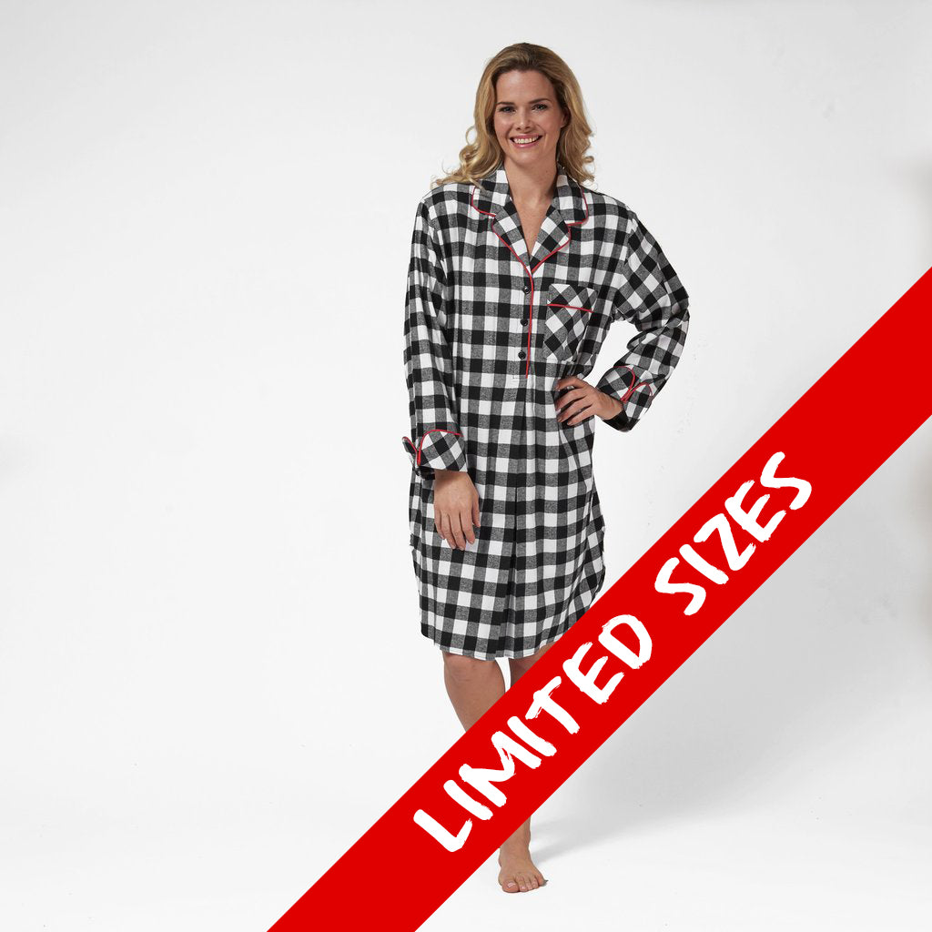 1001/ Woman's Knee Length Flannel Nightshirt / Large Buffalo Check
