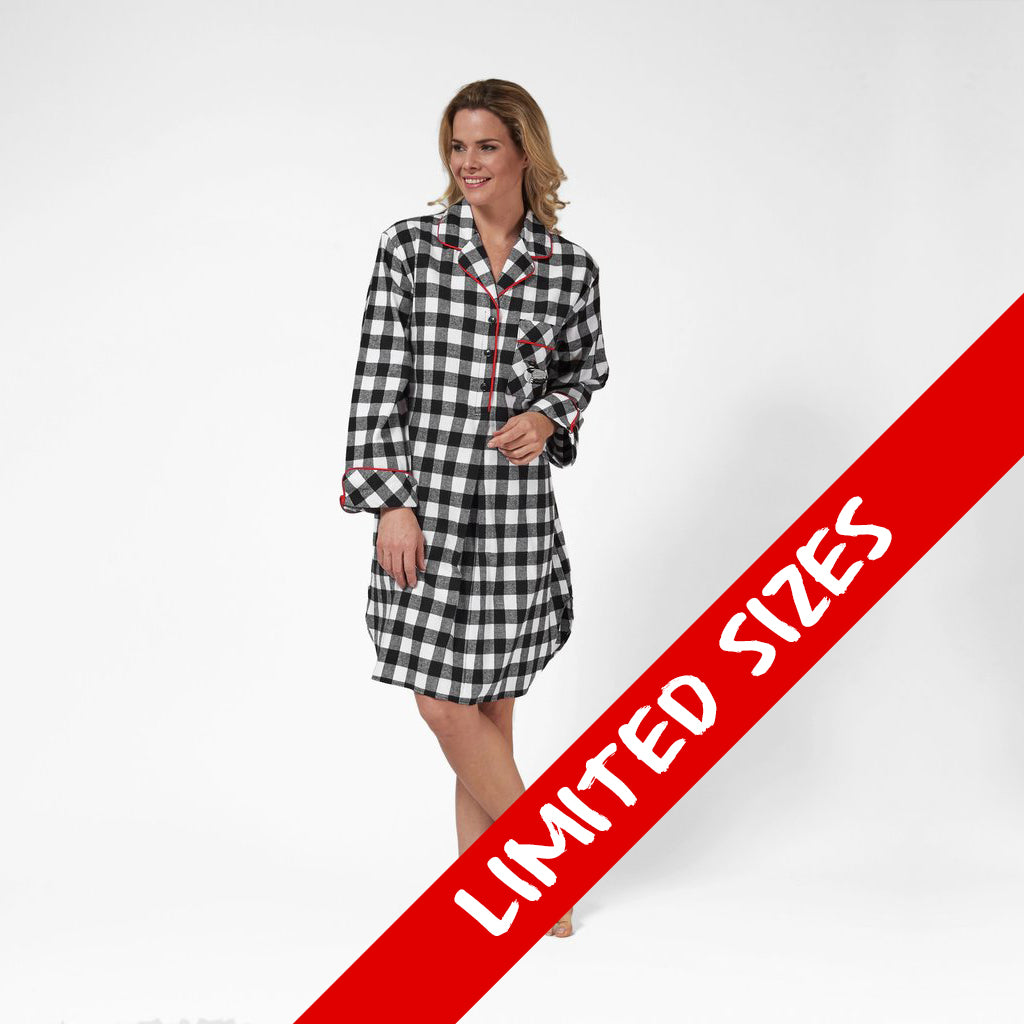 1001/ Woman's Knee Length Flannel Nightshirt / Large Buffalo Check with Loon Logo