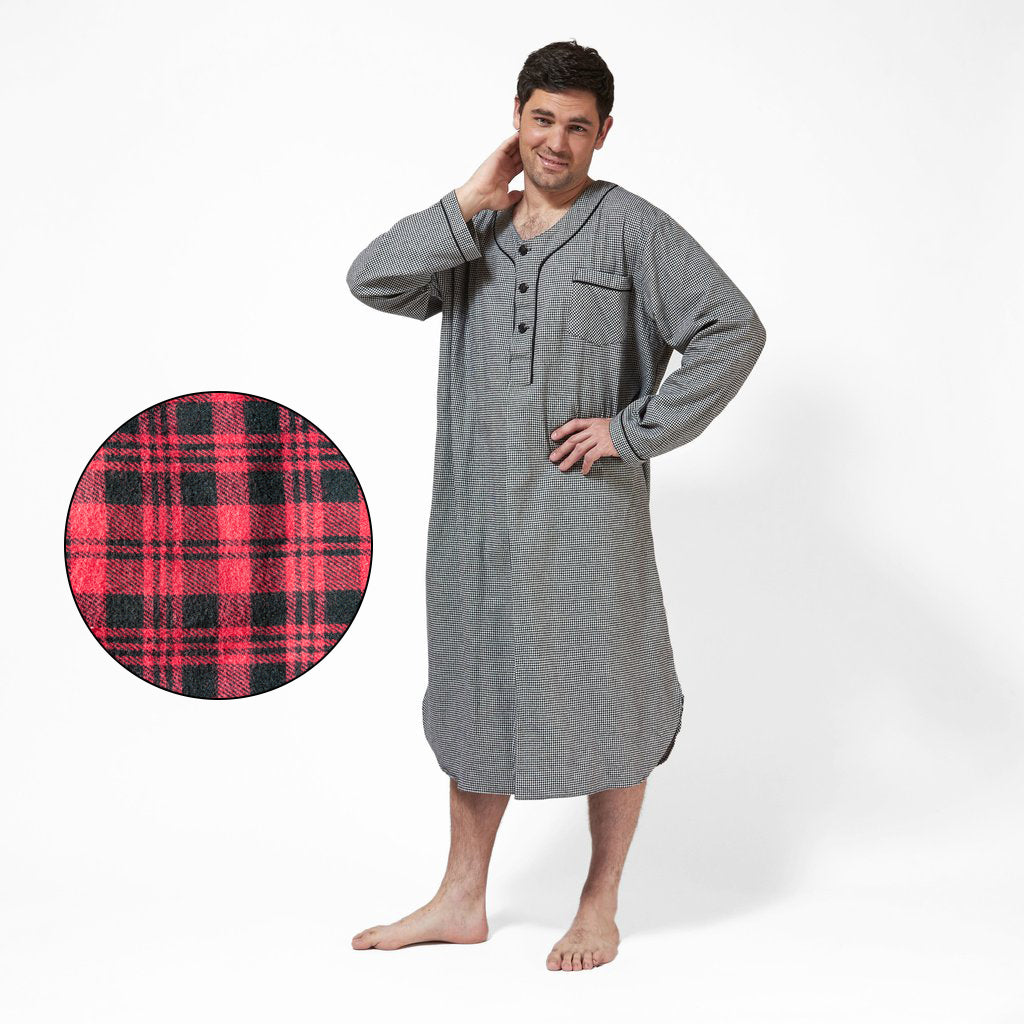 Men's Flannel Nightshirt in Red Plaid