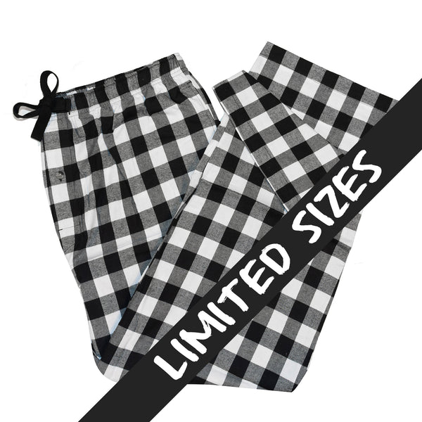 Men's Flannel Lounge Pant / Large Buffalo Check Black/White
