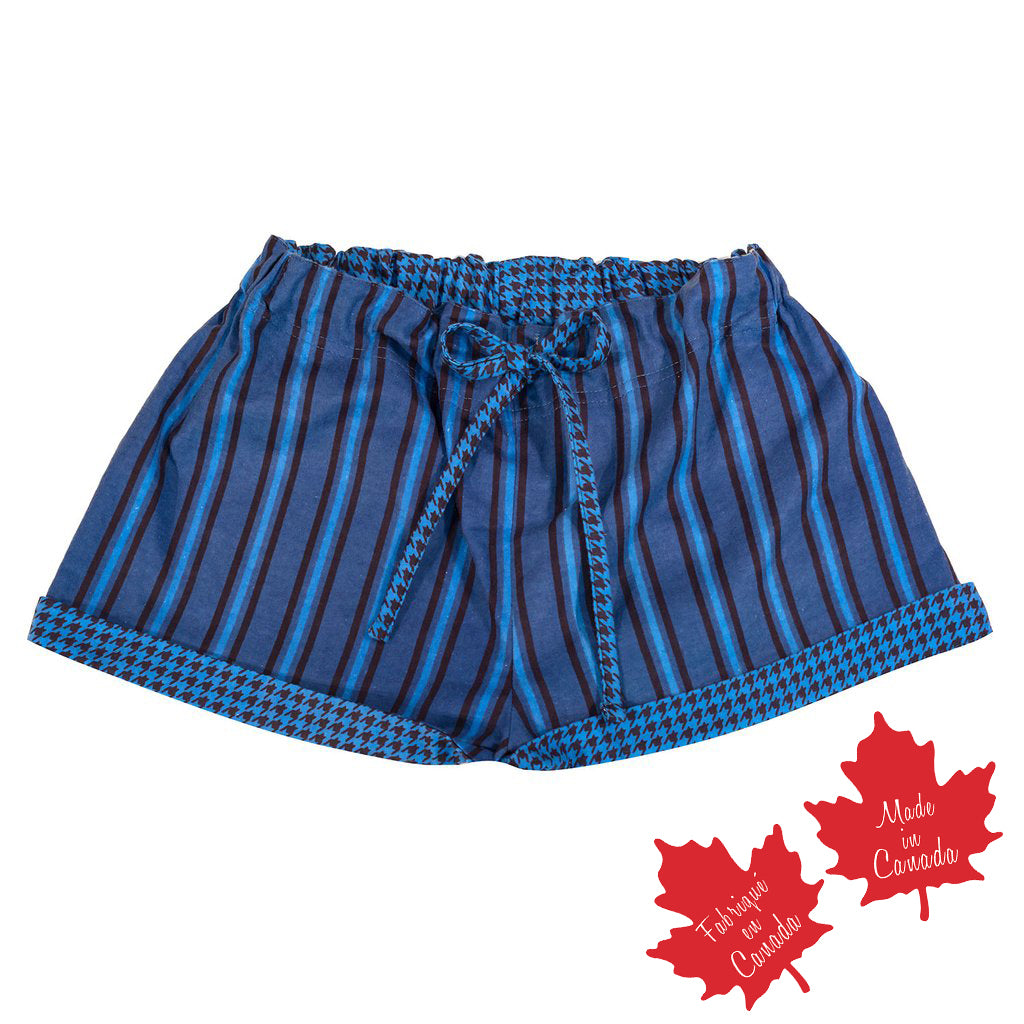 Shorts in Blue / Navy Stripe with Houndstooth Trim