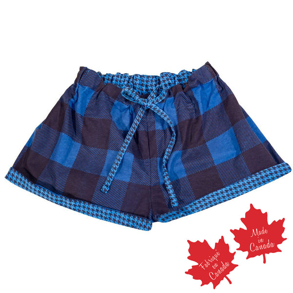Shorts in Blue / Navy in Large Buffalo Check with Houndstooth Trim