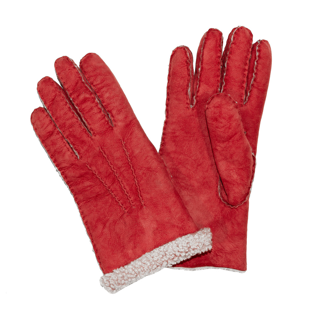 Ladies Sueded Lambskin Gloves Red