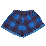 Shorts in Blue / Navy in Large Buffalo Check with Hounds Tooth Trim