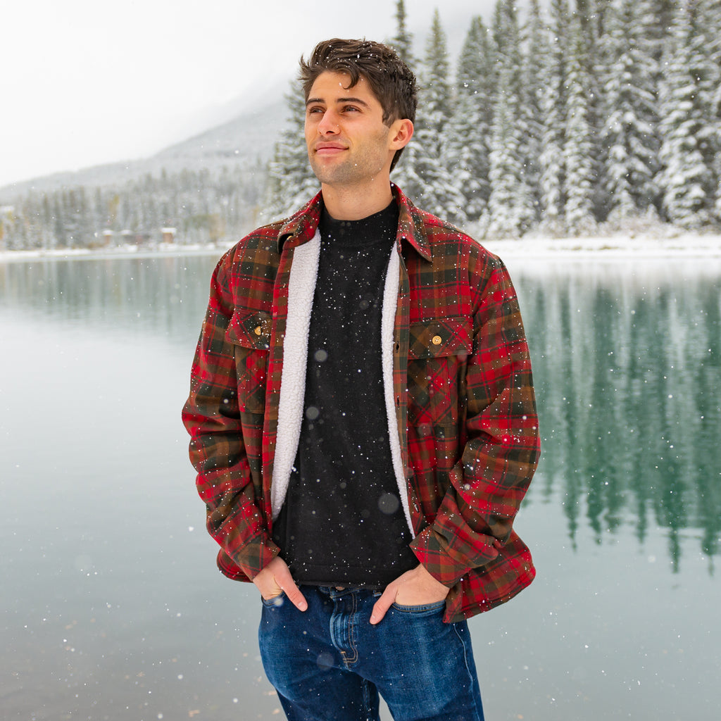 Sherpa Lined Flannel Shirt Mens Maple Leaf Tartan