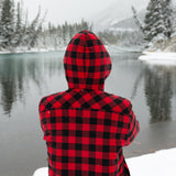 Flannel Sherpa Hooded Jacket in Small Buffalo Check