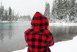 Flannel Sherpa Hooded Jacket in Large Buffalo Check