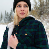 Flannel Sherpa Hooded Jacket in Blackwatch Tartan